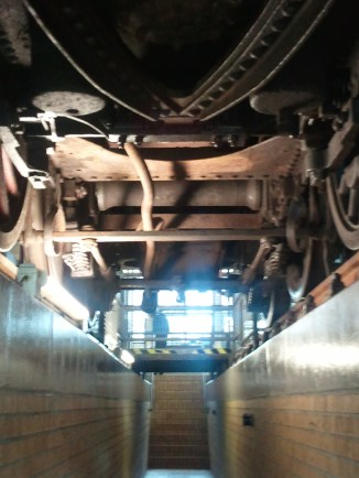 There were sunken walkways under some of the train cars at the Technikmuseum, so you could actually see their undercarriages. Neat!