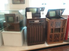 1950's-era German TV sets, Technikmuseum. The cathode ray tubes for the models on the right were so large that they were pointed upward, and redirected horizontally using mirrors.