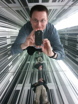 A shot of the ceiling of the cubical mirror room at the Auckland Art Gallery. I had such fun in that room. :)