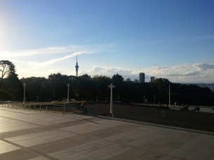 This is the view from the Auckland Museum's forecourt looking NW, back toward the Auckland CBD. Poking above the horizon is the Sky Tower, the city's observation/telecom tower.