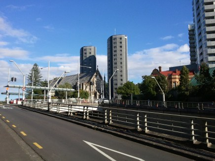 Auckland architectural juxtaposition: St. Paul's Church, the oldest in Auckland, next to modern hi-rises.