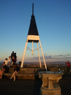The marker at the top of Mount Eden, Auckland's highest point, at 643 ft above mean sea level.
