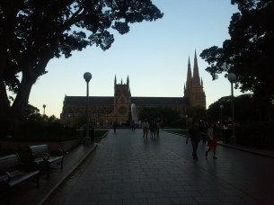 A side view of St. Mary's Cathedral, at 350 ft the longest church in Australia.
