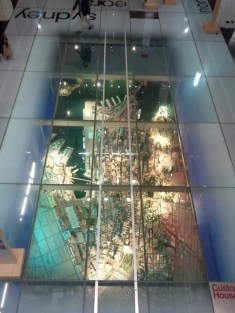 The ground floor of Sydney's Custom House has a partial glass floor, with this highly detailed model of the city's CBD under it.