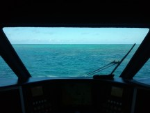 The view from the bridge of our Great Barrier Reef dive boat.