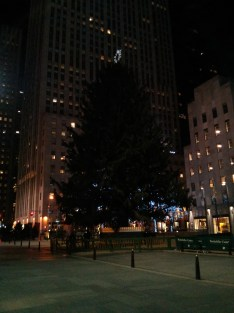 The Christmas tree in Rockefeller Center. Alas, it was unlit at the time I took this, at 12:52 a.m., 1/1/15.