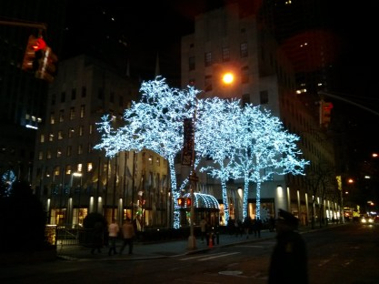 Lit trees at Rockefeller Center, besides Times Square the other recommended NYC Christmas/New Years destination.