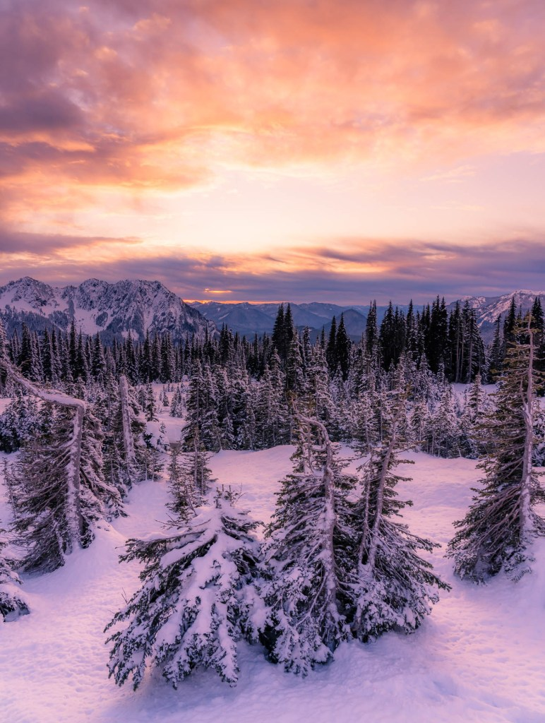 Sunset at Mount Rainier in the Winter, Paradise