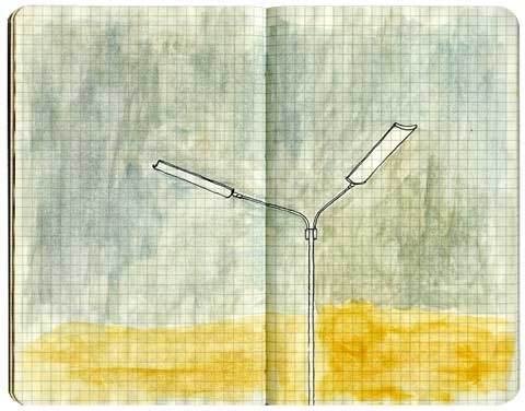 Light post watercolor drawing