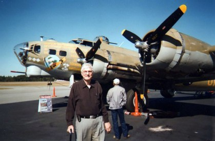 Dad and a B-17 in 2013.