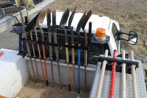 shovel tool holder - shovels, brooms, rake, rack organizer. good for construction & landscaping storage, used with jeep, utv, dump truck, garage, tool box, atv, trucks,