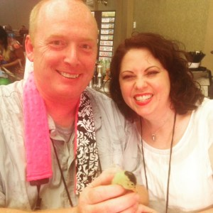 Holding a duckling at BlogPaws 2015