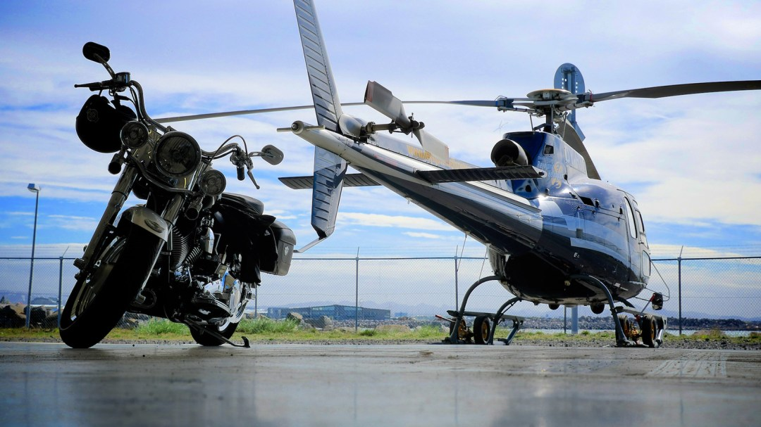 Harley Davidson and Ecurail helicopter. Reykjavik Helicopters Iceland - photo by Jon Gustafsson.
