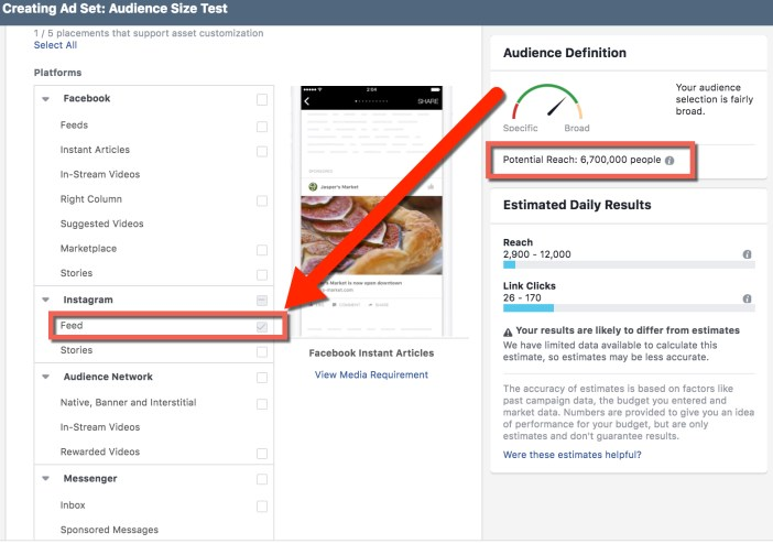 Compare Audience Sizes in Facebook Ads Manager - Instagram Feed Only