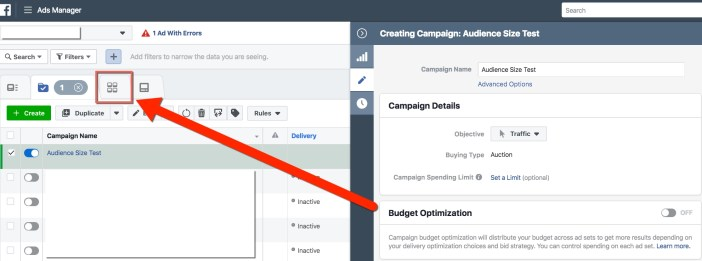 Facebook Ads Manager - Campaign View