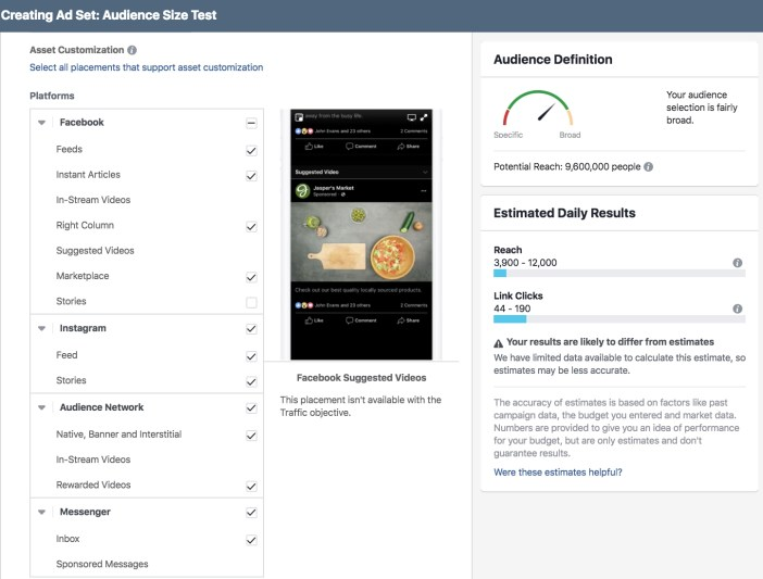 Facebook Ads Manager - Default Automatic Placements