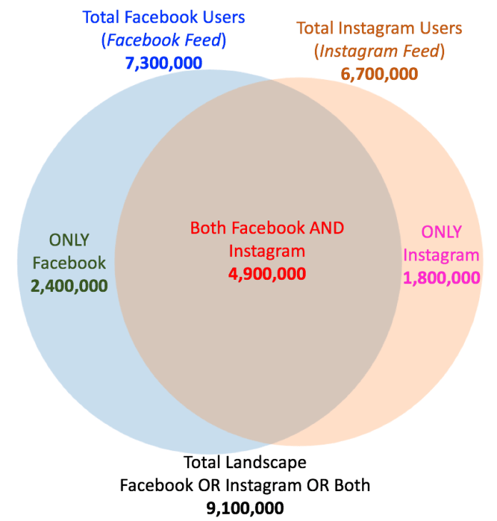 Facebook and Instagram Target Audience Size Overlap with Exclusions