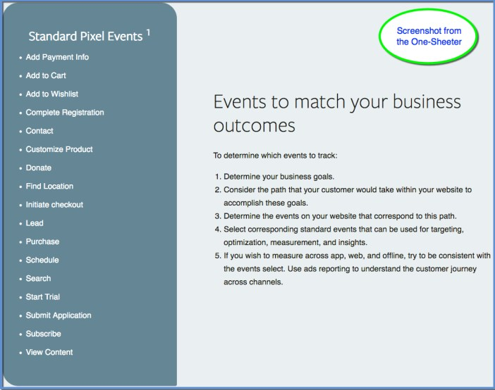 Facebook Pixel Events One-Sheeter