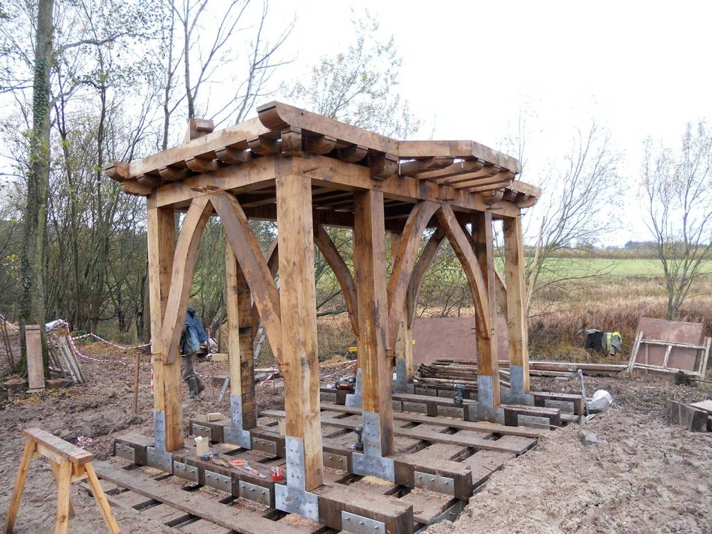 Traditional timber frame construction, a bird hide project.