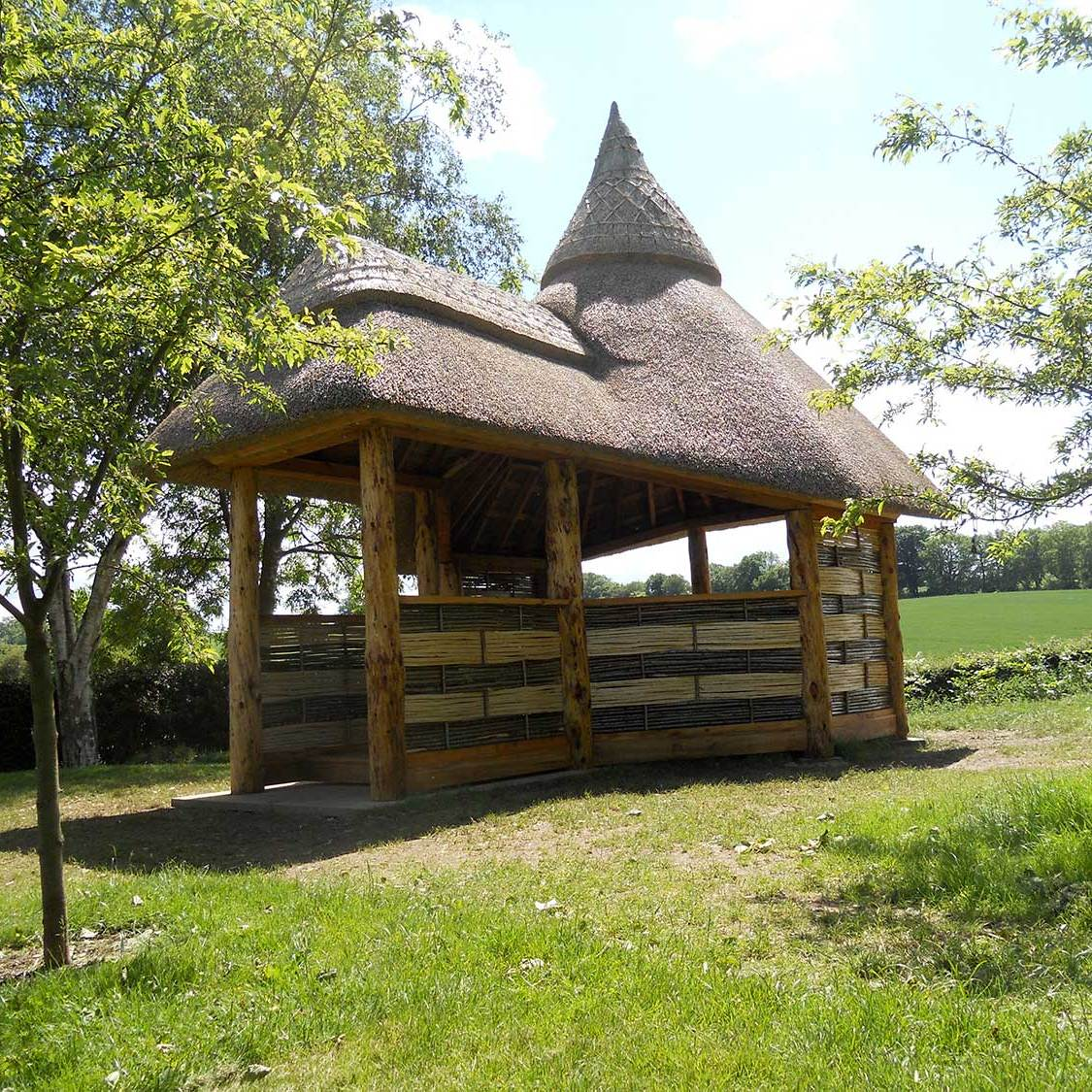 thatched garden pavilion