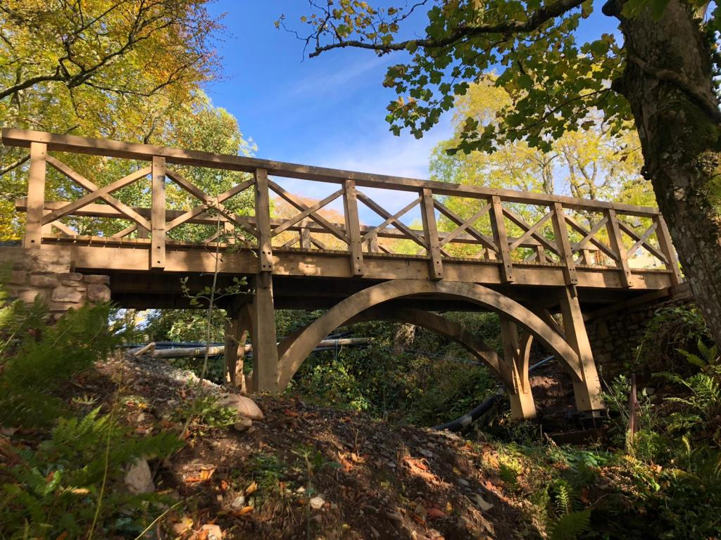 Oak framed bridge in the landscape