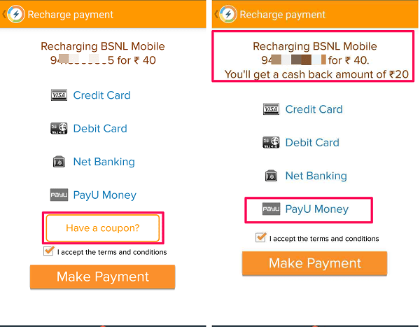 how to use free recharge coupons