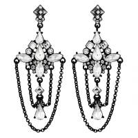 Lipsy Black Crystal Draped Chandelier Earring