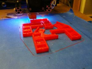 Printing OB 1.4 Lower Frame Braces in translucent red PLA