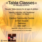 Flyer - Tabla Classes in Swindon August 2017
