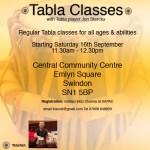 Flyer - Tabla Classes in Swindon August 2017