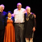 Samswara sitar & tabla duo with SAPAC founders Indu Sharma & Chan Chitroda at Swindon Arts Centre. Photo: Kreetee S.
