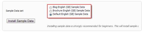 Three sample data sets on Joomla 2.5