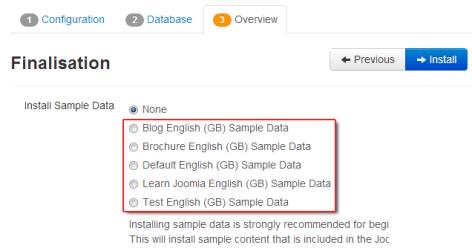vs. five sample data sets on Joomla 3.0