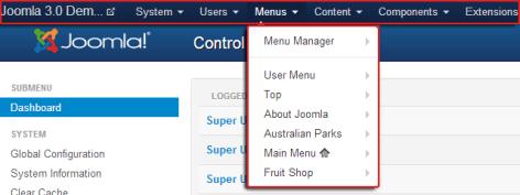 Main menu in Joomla 3.0 back-end