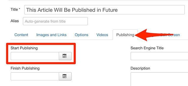 Schedule a Joomla article to publish in the future