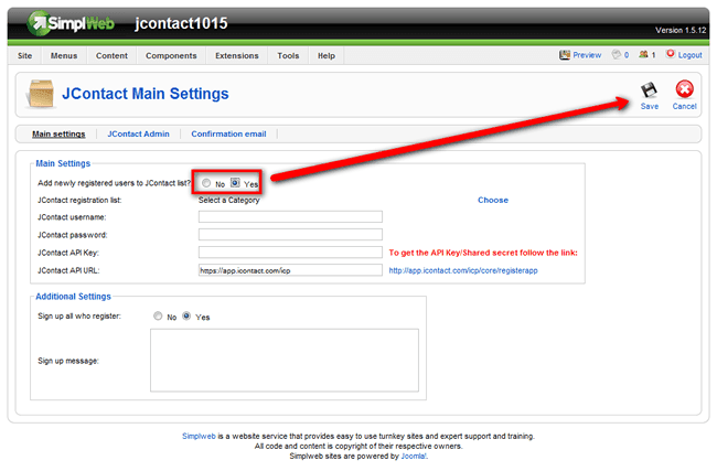 Main Jcontact Settings