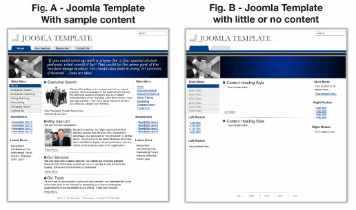 Joomla Template with and without content
