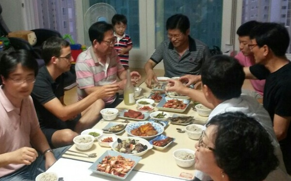 Having a Chuseok dinner with the family. Felt part the group regardless of limited Korean.