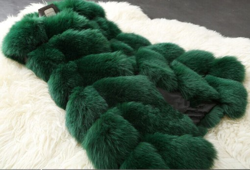 green fur vest