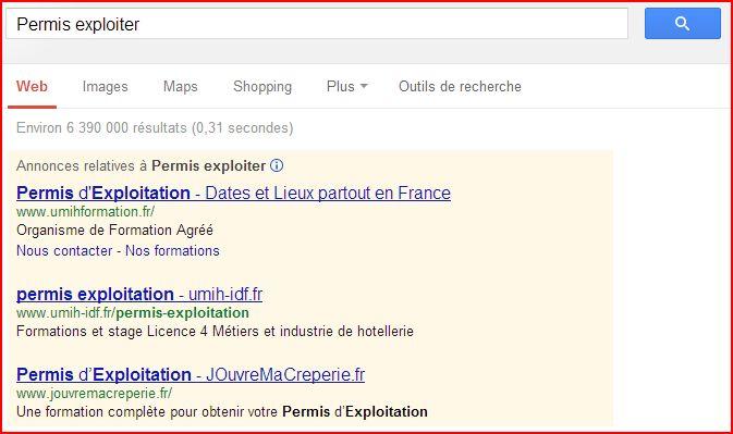 Permis exploiter - expression la plus cher sur Google