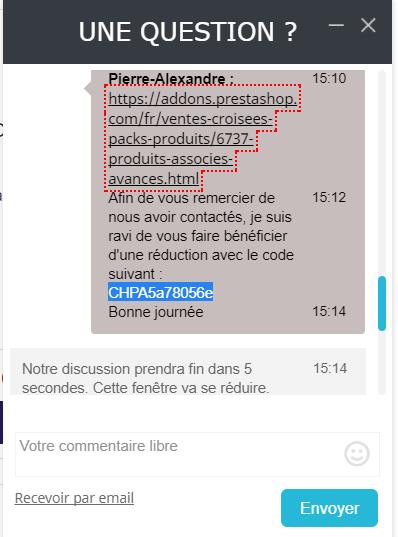 code de reduction Prestashop