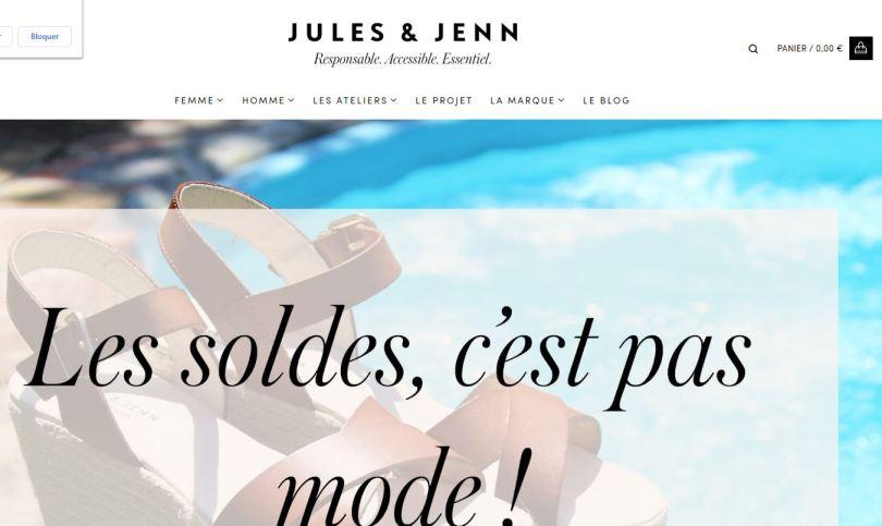 pas de soldees chez Jules & Jenn