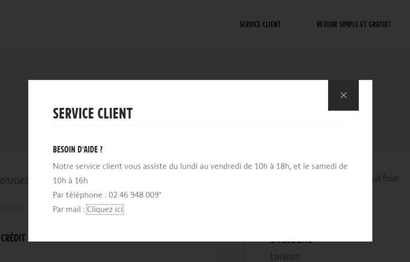 exemple élément de rassurance e-commerce service client