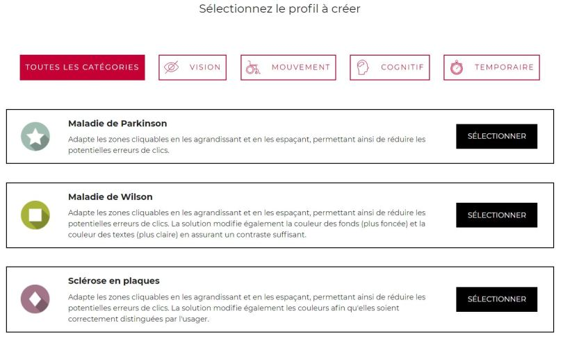 exemple creation profil Facil'iti adaption e-commerce handicap