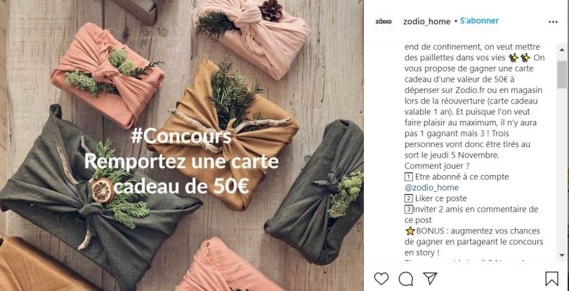 exemple Zodio jeu concours instagram