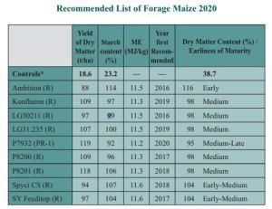 Maize list 2020