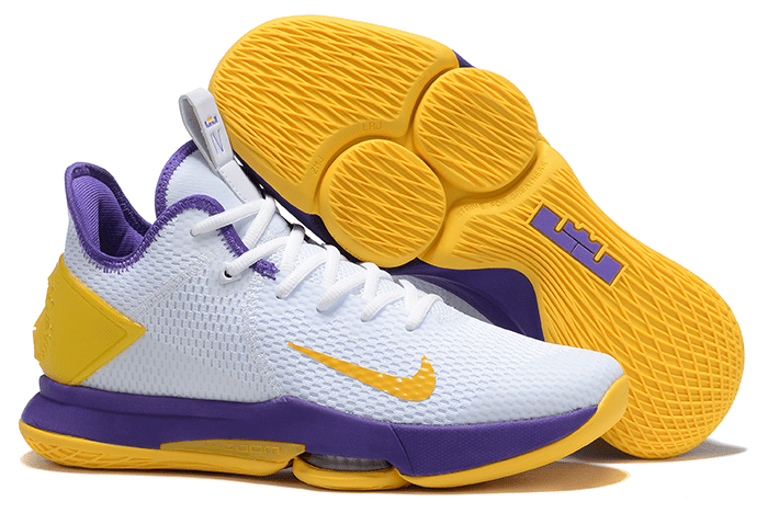 2020 New Nike LeBron Witness 4 IV EP White/Purple-Yellow For Sale