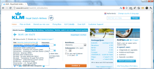 The KLM website in Dutch