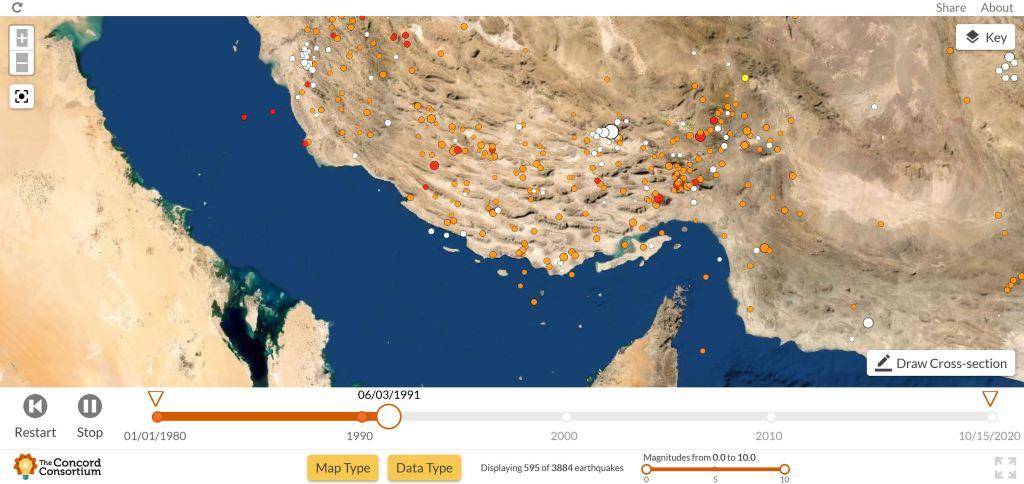 Mapa de terremotos de Fars
