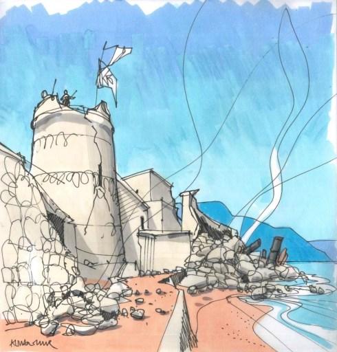 Castillo de Santa Ana de Roquetas, por Patrick Murphy Colleras, destruido por los terremotos de Almería